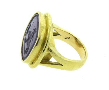 image of Elizabeth Locke Gold Venetian Glass Intaglio Ring