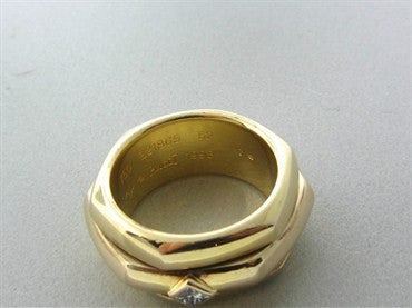image of Piaget 18K Yellow Gold Diamond Rotating Band Ring Size 52