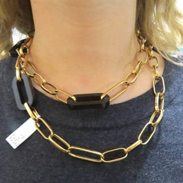 thumbnail image of Modern Italian Wood 18K Gold Large Link Necklace