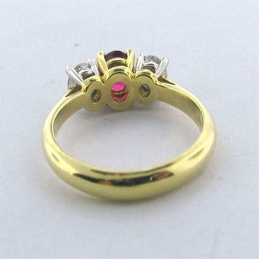 thumbnail image of Tiffany & Co Gold Platinum Diamond Ruby Ring