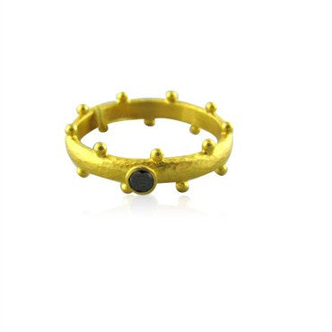 image of New Gurhan Skittle 24K Gold Black Diamond Ring