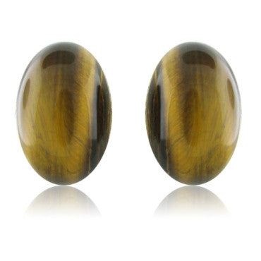 image of Roberto Coin 18k Gold Tiger Eye Diamond Earrings