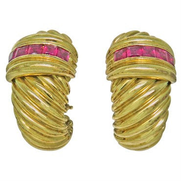 thumbnail image of David Yurman 14K Gold Ruby Shrimp Earrings