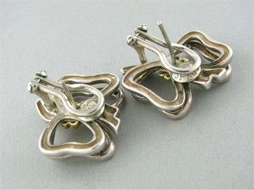 thumbnail image of Estate Tiffany & Co Sterling Silver 18K Gold Ribbon Earrings