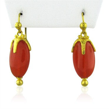 image of New Gurhan 24k Gold Carnelian Star Cap Drop Earrings
