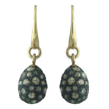 thumbnail image of Pomellato Tabou 18K Gold Burnished Silver Smokey Topaz Drop Earrings