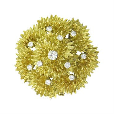 image of 1970s Regner French Yellow Gold Diamond Brooch Pin
