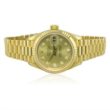 image of Rolex President 18K Gold Diamond Dial Ladies Watch 69178