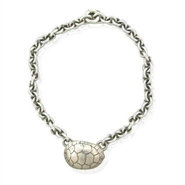 image of Estate Kieselstein Cord Sterling Silver Turtle Pendant Chain Necklace