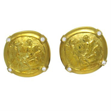 image of Seidengang Athena 18k Gold Diamond Earrings