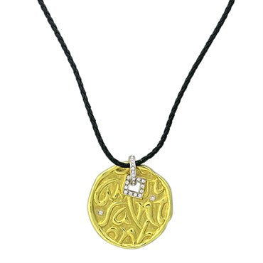 thumbnail image of Seidengang 18k Gold Diamond Pendant Leather Cord Necklace