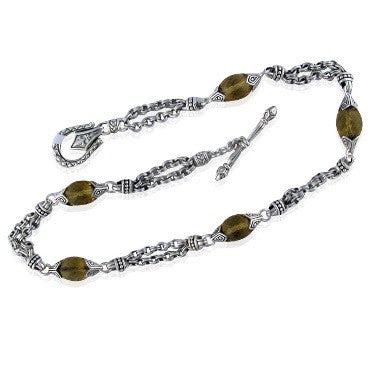 image of Scott Kay Sterling Smokey Quartz Bead Necklace