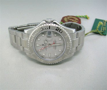 image of Rolex Yacht Master Stainless Steel Platinum Watch Ref 168622 Box Paper