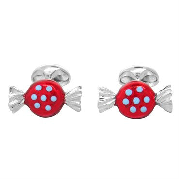 thumbnail image of Deakin & Francis Sterling Silver Round Sweet Candy Enamel Cufflinks