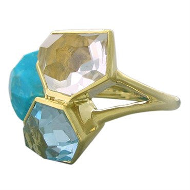 image of New Ippolita 18K Gold Ocean Combo Rock Candy Gemstone Ring