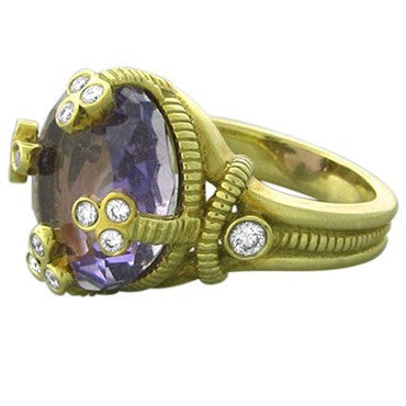 thumbnail image of Judith Ripka 18K Yellow Gold Diamond Amethyst Ring