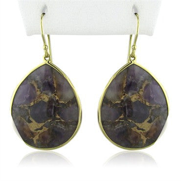 image of New Ippolita 18K Gold Rock Candy Teadrop Bronze Amethyst Earrings