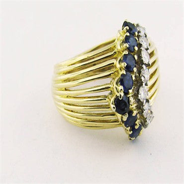 thumbnail image of Vintage Tiffany & Co 18k Gold Diamond Sapphire Ring
