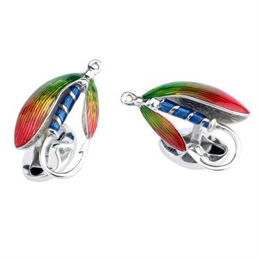 image of Deakin & Francis Sterling Silver Enamel Fish and Fly Cufflinks