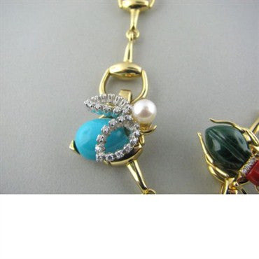 image of Gucci 18k Gold Turquoise Pearl Gem Diamond Bracelet