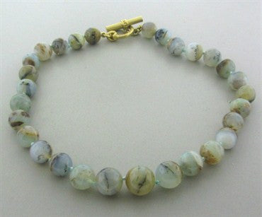 thumbnail image of Slane & Slane 18K Yellow Gold Agate Bead Necklace