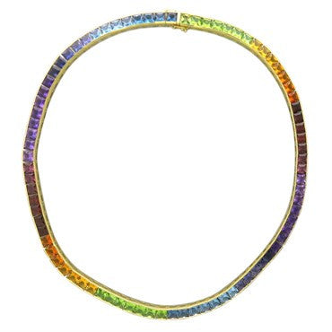image of H. Stern 18k Gold Multi Colored Gemstone Necklace