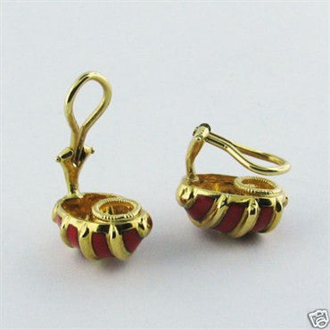 thumbnail image of Tiffany & Co Schlumberger 18K Gold Enamel Earrings