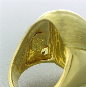 image of Henry Dunay 18K Yellow Gold Brushed Finish Dome Ring