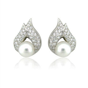 image of New Gumuchian Platinum Diamond & Pearl Flame Earrings