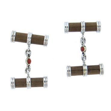image of Trianon Wood Coral Gold Cufflinks