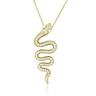 image of Sonia B. 14K Gold 1.70ctw Diamond Serpent Snake Pendant Necklace