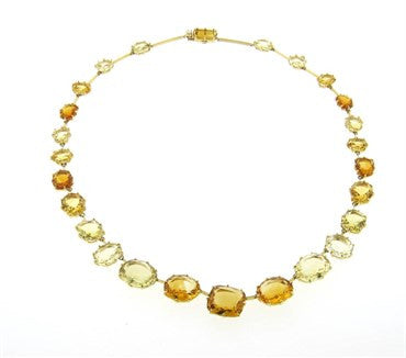 image of H Stern Sunrise Citrine Diamond 18k Gold Necklace