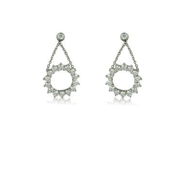 thumbnail image of Tiffany & Co Platinum 1.20ctw Diamond Circle Drop Earrings