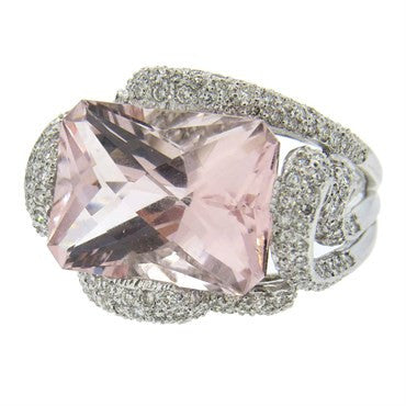 image of Modern Diamond Morganite Gold Ring