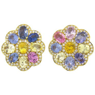 image of Whimsical Multi Color Sapphire Diamond Gold Earrings