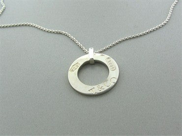 thumbnail image of Estate Tiffany & Co Sterling Silver 1837 Circle Pendant Necklace