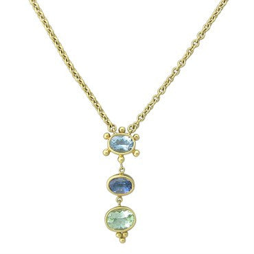 image of Temple St. Clair 18k Gold Aquamarine Sapphire Peridot Pendant Necklace