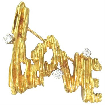 thumbnail image of 1970s Peter Lindeman Gold Platinum Diamond Love Brooch
