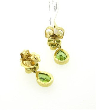 thumbnail image of New Temple St. Clair Peridot 18k Gold Drop Earrings