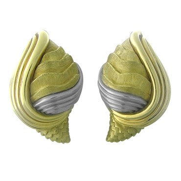 thumbnail image of Henry Dunay 18K Gold Platinum Textured Brushed Finish Earrings