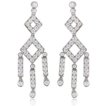 thumbnail image of Tiffany & Co Platinum Diamond Drop Earrings