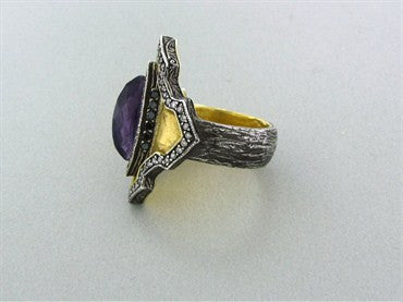 image of Sevan Bicakci 24K Yellow Gold Sterling Silver Amethyst Diamond Ring