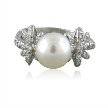 image of Tiffany & Co Fireworks Platinum Pearl Diamond Ring