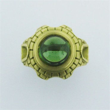 image of Estate 18K Gold Kieselstein Cord Green Tourmaline Ring
