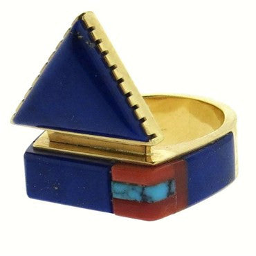 thumbnail image of Richard Chavez Navajo Native American Gold Lapis Turquoise Coral Ring