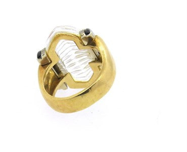 image of Large Onyx Diamond 18k Gold Ribbed Crystal Ring