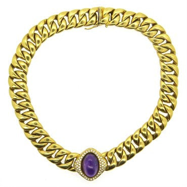 thumbnail image of Massive Neiman Marcus Amethyst Diamond 18k Gold Link Necklace