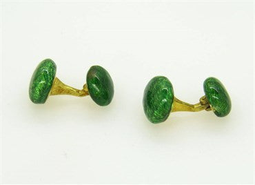 thumbnail image of Green Enamel 18k Gold Cufflinks