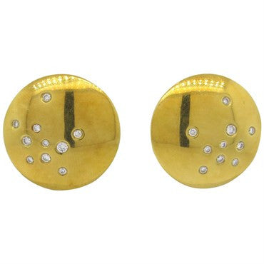 image of Thomas Michaels Diamond 18k Gold Round Disk Earrings