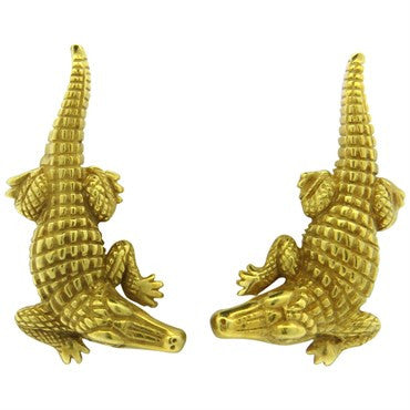 image of Barry Kieselstein Cord Alligator Gold Earrings
